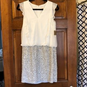 NWT Aidan Mattox White/Silver Sequin Blouson Dress